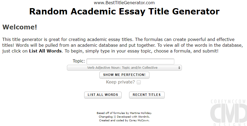 Essay title generator guide the essay typer