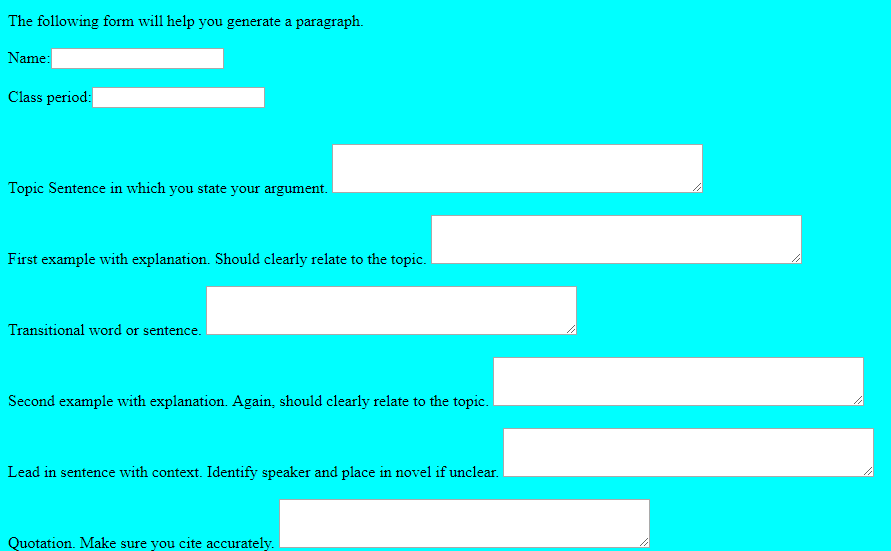 Screenshot of the Downey Paragraph Generator