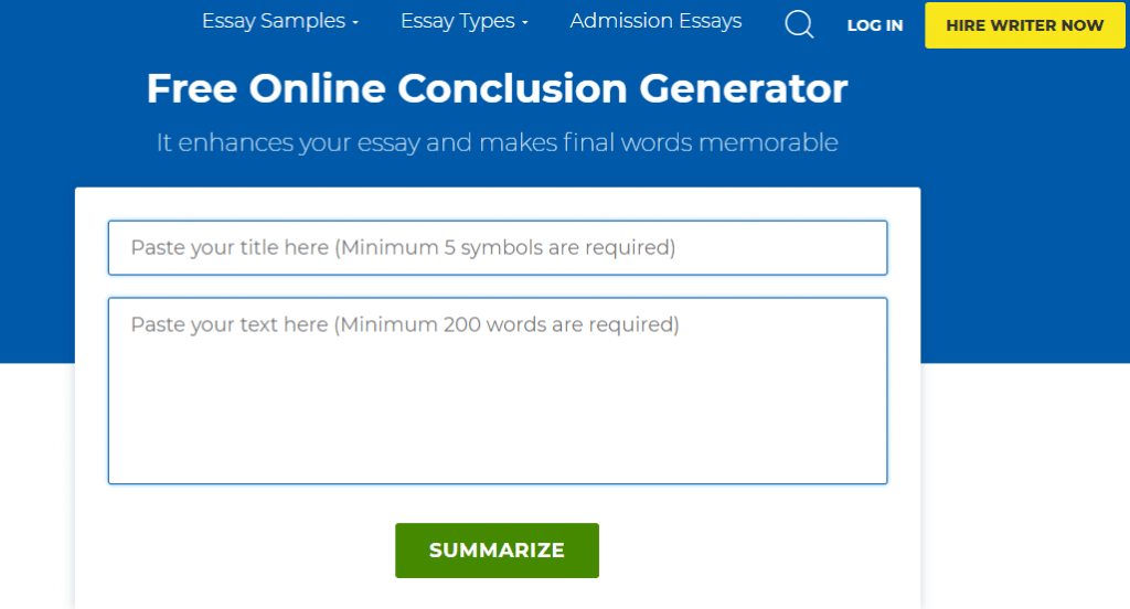 Screenshot of the GradesFixer Conclusion Generator