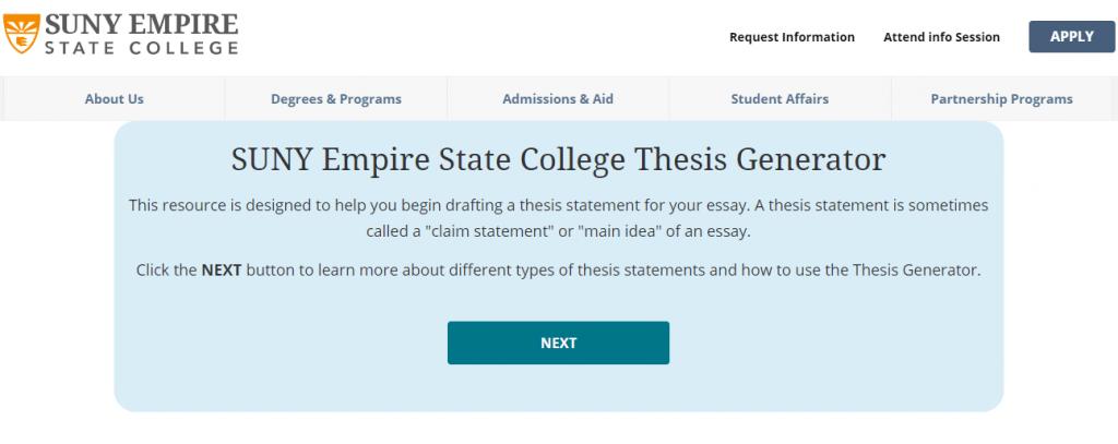 Screenshot of the SUNY College thesis creator