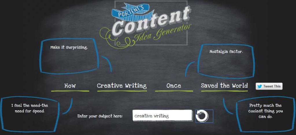 Screenshot of Portent topic idea generating tool