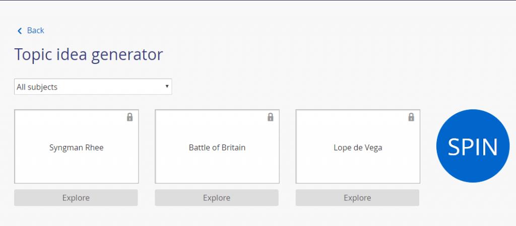 Screenshot of the Questia topic idea generator